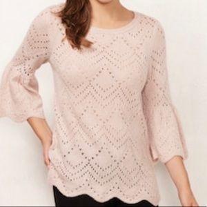 LC LAUREN CONRAD Blush Pink Pointelle Sweater